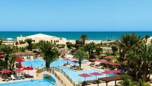 ALDIANA Djerba Atlantide Überblick über die Anlage mit Pool und Meer