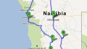 Namibia Rundreise Selbstfahrer Route