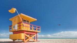 Rundreise New York Florida Bunter Rettungsschwimmer Stand direkt in Miami Beach