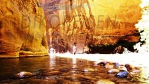 USA Reise Westküste Wanderung duch einen Fluss im traumhaften Zion Nationalpark