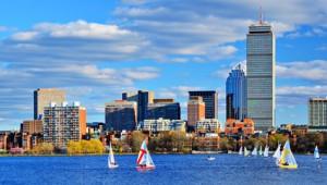USA Ostküste Reise Boston Skyline mit Blick auf den historischen Stadtteil Back Bay