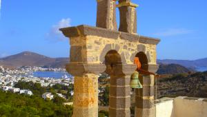 Inselhüpfen Griechenland Johanneskloster Glockenturm Patmos