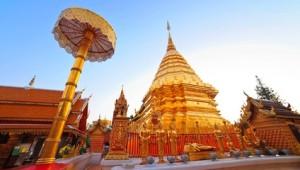 Thailand Rundreise Die goldene Pagode des Doi Suthep Tempel in Chiang Mai
