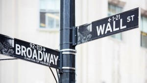 Straßenschild in New York City, Wall Street und Broadway