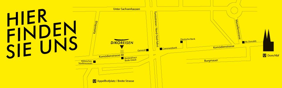 Anfahrtsbeschreibung zum Reisebüro Köln