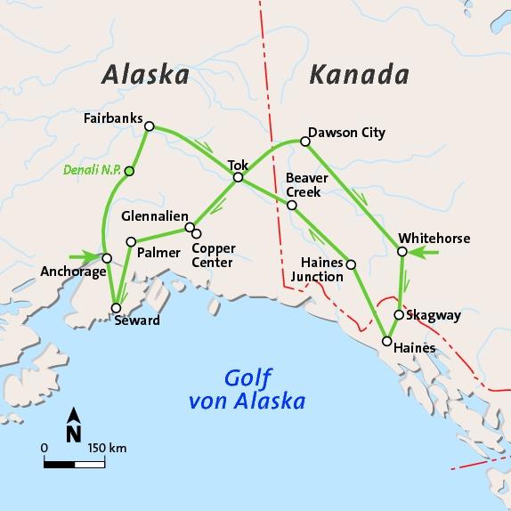 Golf Von Alaska Karte.Yukon Alaska Rundreise Diko Reisen Reisen Kunst Events